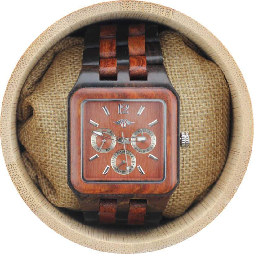 Angie Wood Creations Red Sandalwood Men's Square Watch With Red Sandalwood Dial