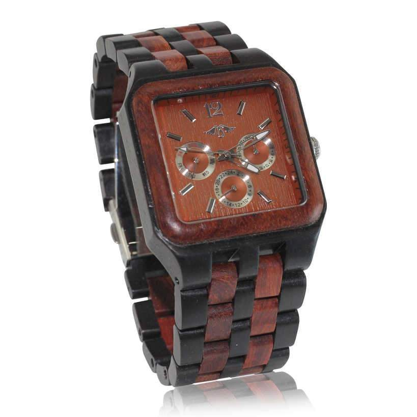 angiewoodcreations Wood watch Not engraved Angie Wood Creations Red Sandalwood Men's Square Watch With Red Sandalwood Dial
