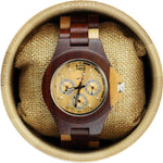 Angie Wood Creations Red Sandalwood Men's Watch with Maple Accents and Sub Dials