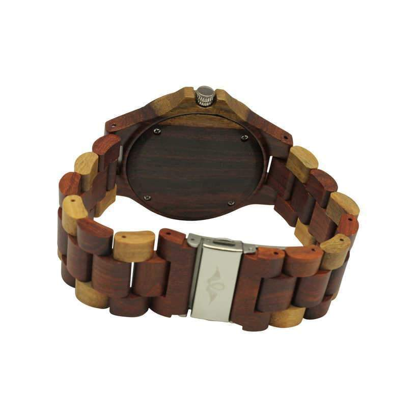 angiewoodcreations Wood watch Not engraved Angie Wood Creations Red Sandalwood Men's Watch With Maple Accents and Sub Dials
