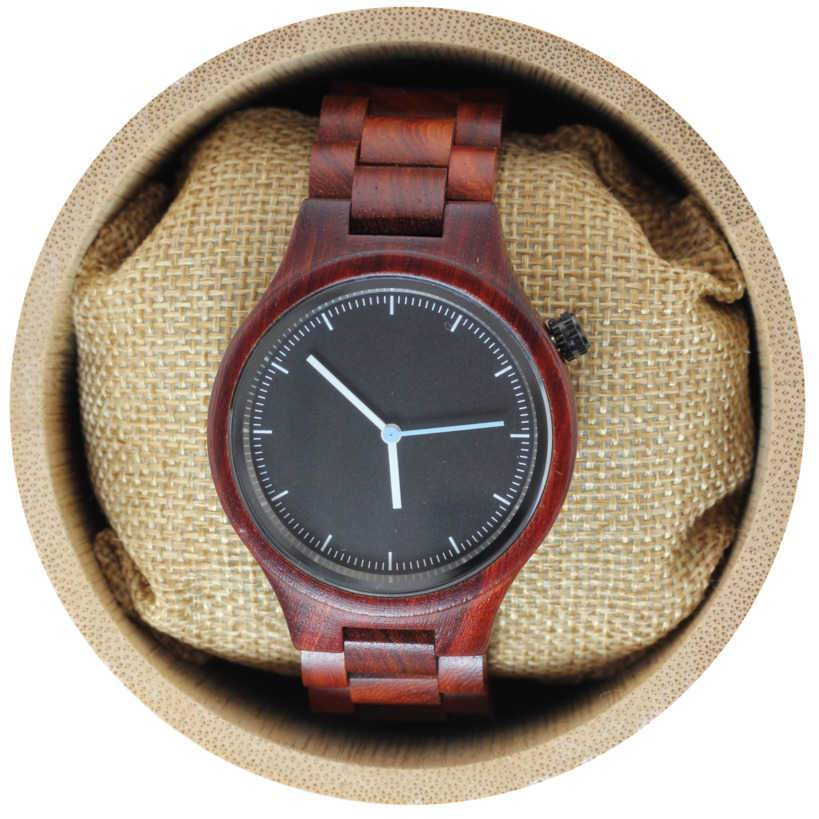 Angie Wood Creations Red Sandalwood Unisex Watch With Black Dial
