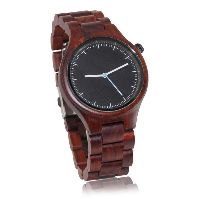 angiewoodcreations Wood watch Not engraved Angie Wood Creations Red Sandalwood Unisex Watch With Black Dial