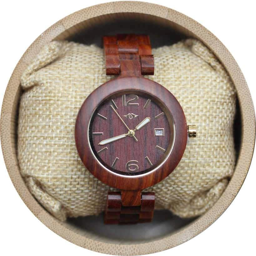 Angie Wood Creations Red Sandalwood Women's Watch with Luminous Gold Hands