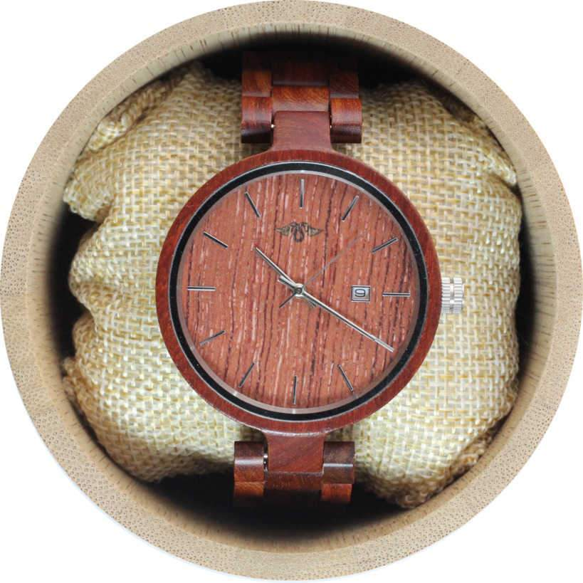 Angie Wood Creations Red Sandalwood Women's Watch With Red Sandalwood Bracelet