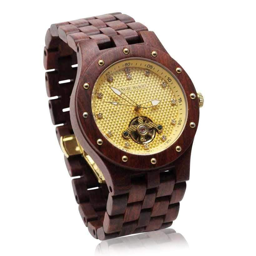 angiewoodcreations Wood watch Not engraved Angie Wood Creations Rosewood Men's Self-Winding Watch with Gold Dial