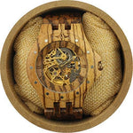 Angie Wood Creations Rosewood Studded Men's See-through Self-Winding Watch
