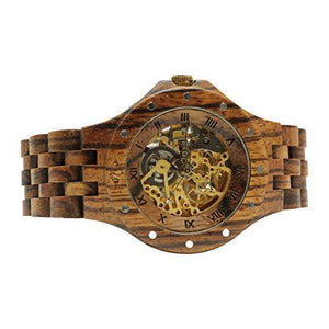 angiewoodcreations Wood watch Not engraved Angie Wood Creations Rosewood Studded Men's See-through Self-Winding Watch