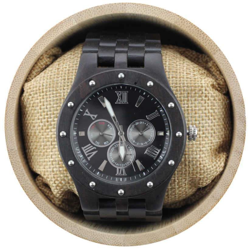 Angie Wood Creations Studded Ebony Men's Watch with Black Dial and Silver Hands