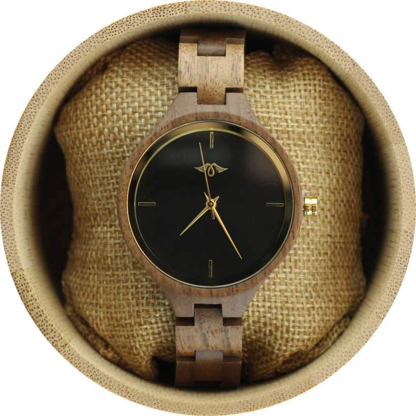 Angie Wood Creations Teak Women's Watch with Teak Bracelet and Gold Hands