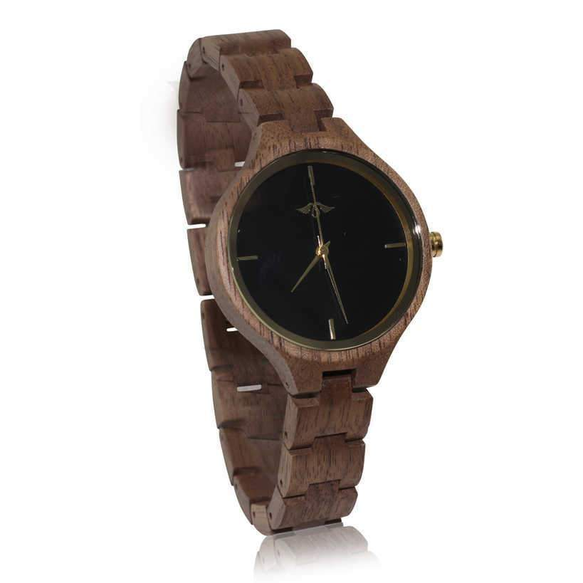 Angiewoodcreations Woman Wooden watch Not engraved Angie Wood Creations Teak Women's Watch With Teak Bracelet and Gold Hands