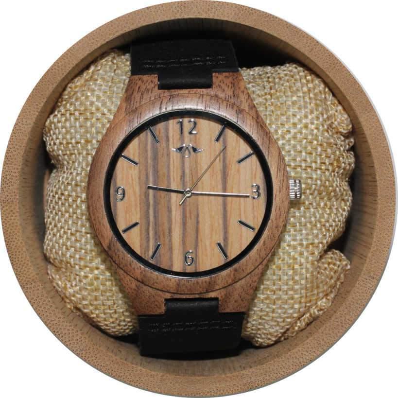 Angie Wood Creations Walnut Men's Watch With Black Leather Strap