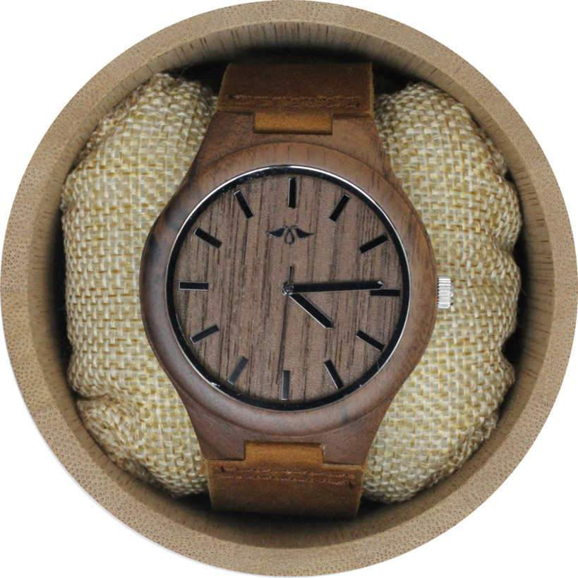Angie Wood Creations Walnut Men's Watch With Walnut Dial and Leather Strap