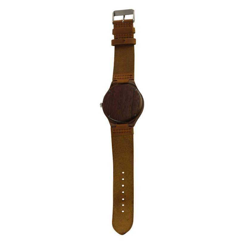 angiewoodcreations Wood watch Not engraved Angie Wood Creations Walnut Men's Watch With Walnut Dial and Leather Strap