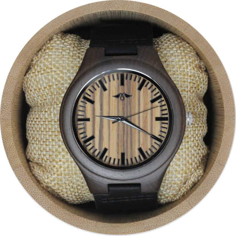 Angie Wood Creations Walnut Wood Men's Watch With Black Leather Strap