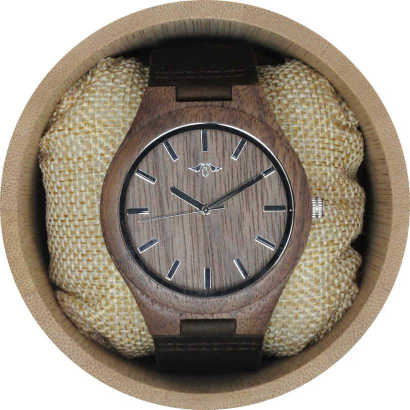 Angie Wood Creations Walnut Wood Men's Watch With Brown Leather Strap