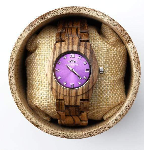 Angie Wood Creations Zebrawood Japanese Quartz Women's Watch With Purple Dial,Wood Watch(W164)