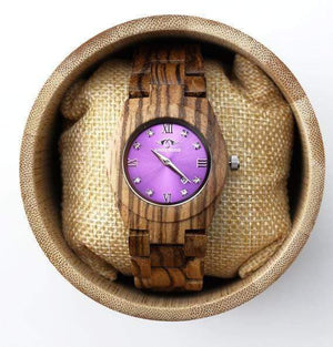 Angiewoodcreations Woman Wooden watch Not engraved Angie Wood Creations Zebrawood Japanese Quartz Women's Watch With Purple Dial,Wood Watch(W163)