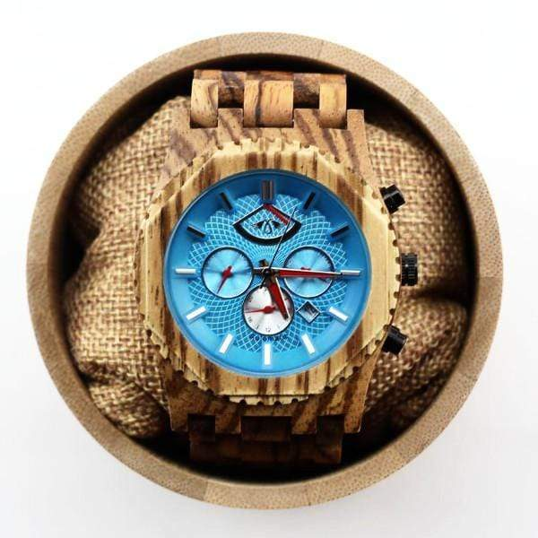 Angie Wood Creations Zebrawood Men's Automatic Watch With Aqua Dial