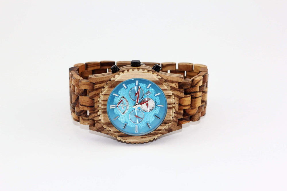 angiewoodcreations Wood watch Not engraved Angie Wood Creations Zebrawood Men's Automatic Watch With Aqua Dial