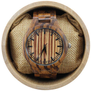 angiewoodcreations Wood watch Not engraved Angie Wood Creations Zebrawood Men's Watch w. Black Hands and Zebrawood Bracelet