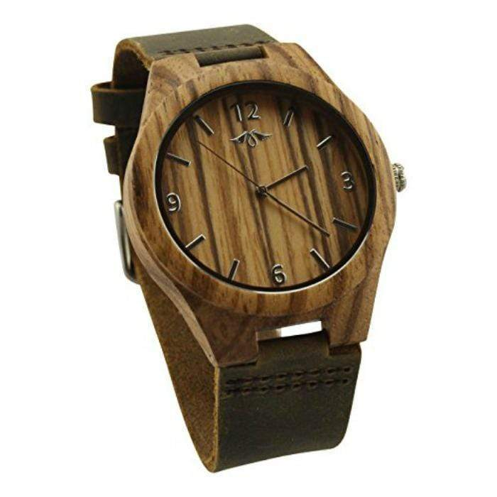 Angiewoodcreations Wood watch Not engraved Angie Wood Creations Zebrawood Men's Watch With Brown Leather Band