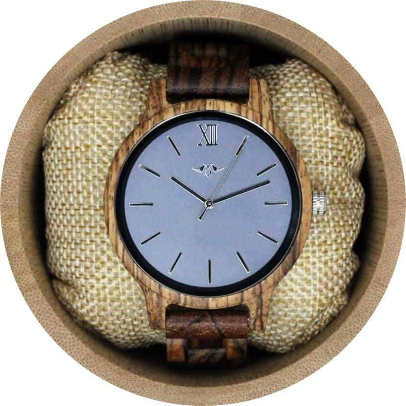 angiewoodcreations Wood watch Not engraved Angie Wood Creations Zebrawood Men's Watch With Grey Dial