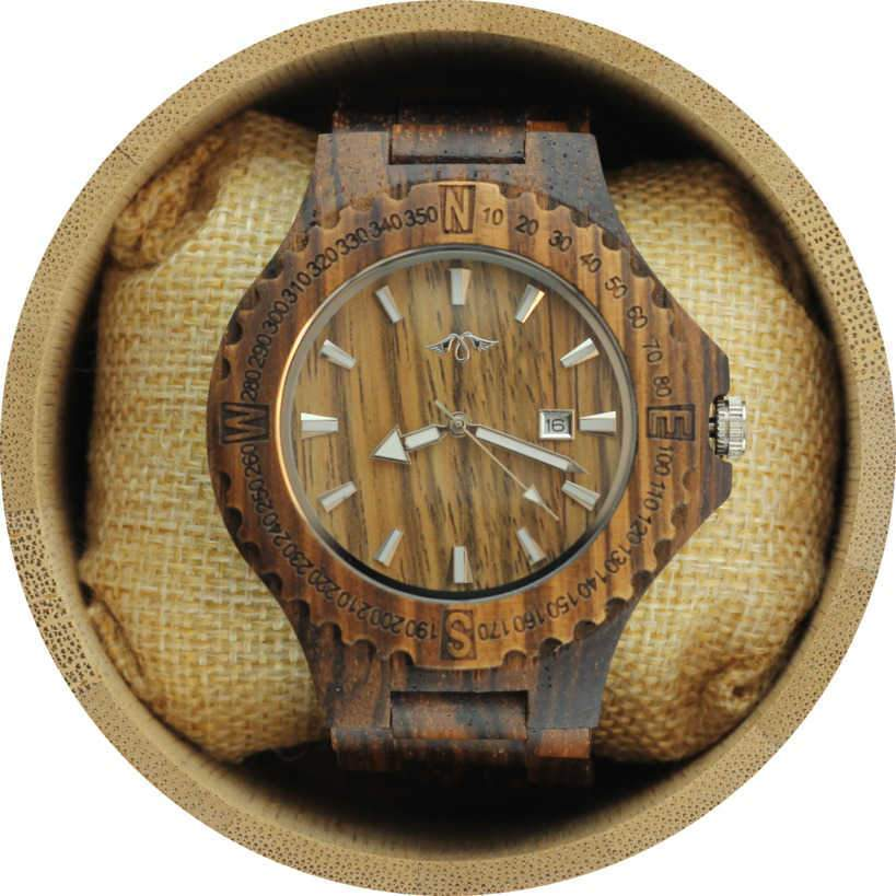 Angie Wood Creations Zebrawood Men's Watch with Laser Engraved Bezel