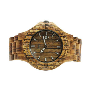 angiewoodcreations Wood watch Not engraved Angie Wood Creations Zebrawood Men's Watch With Laser Engraved Bezel