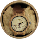 Angie Wood Creations Zebrawood Men's Watch with Leather Band and Engraved Dial