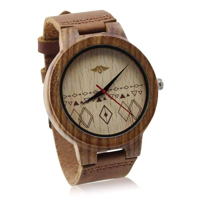 Angiewoodcreations Wood watch Not engraved Angie Wood Creations Zebrawood Men's Watch With Leather Band and Engraved Dial
