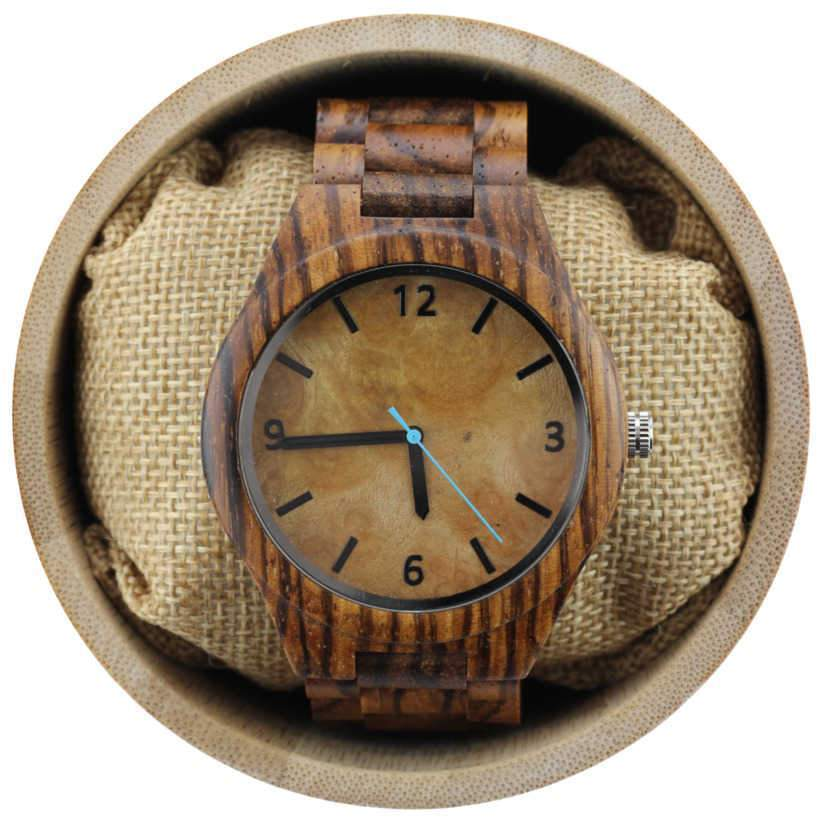 Angie Wood Creations Zebrawood Men's Watch with Maple Dial