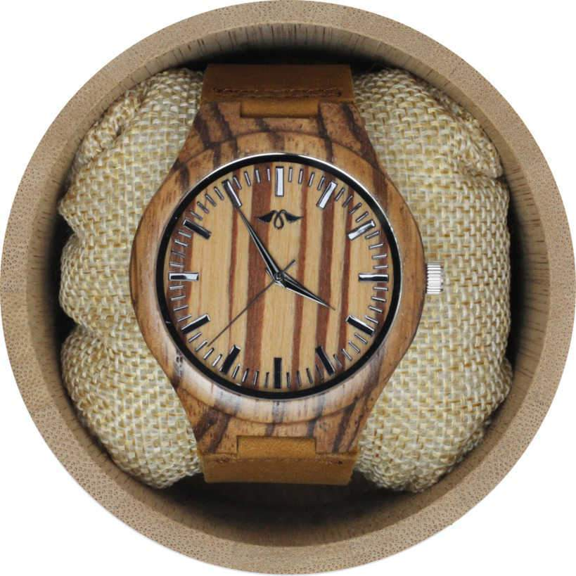Angie Wood Creations Zebrawood Men's Watch With Matching Dial and Leather Strap