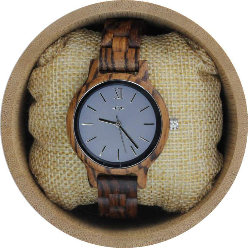 Angie Wood Creations Zebrawood Women's Watch With Charcoal Dial