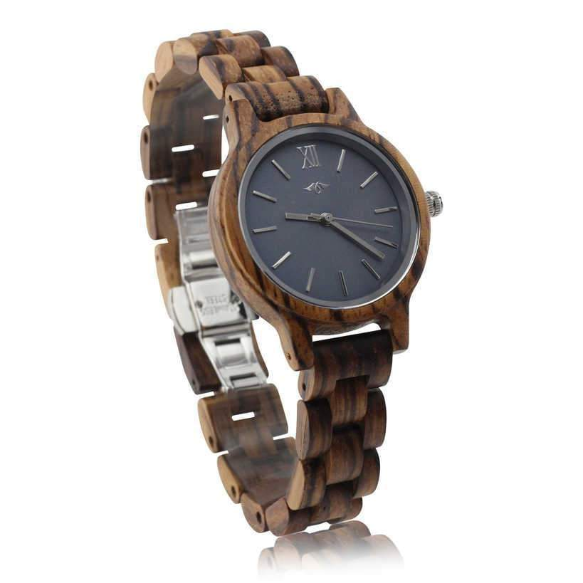 Angiewoodcreations Woman Wooden watch Not engraved Angie Wood Creations Zebrawood Women's Watch With Charcoal Dial