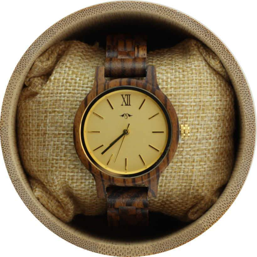 Angie Wood Creations Zebrawood Women's Watch With Gold Dial and Markers
