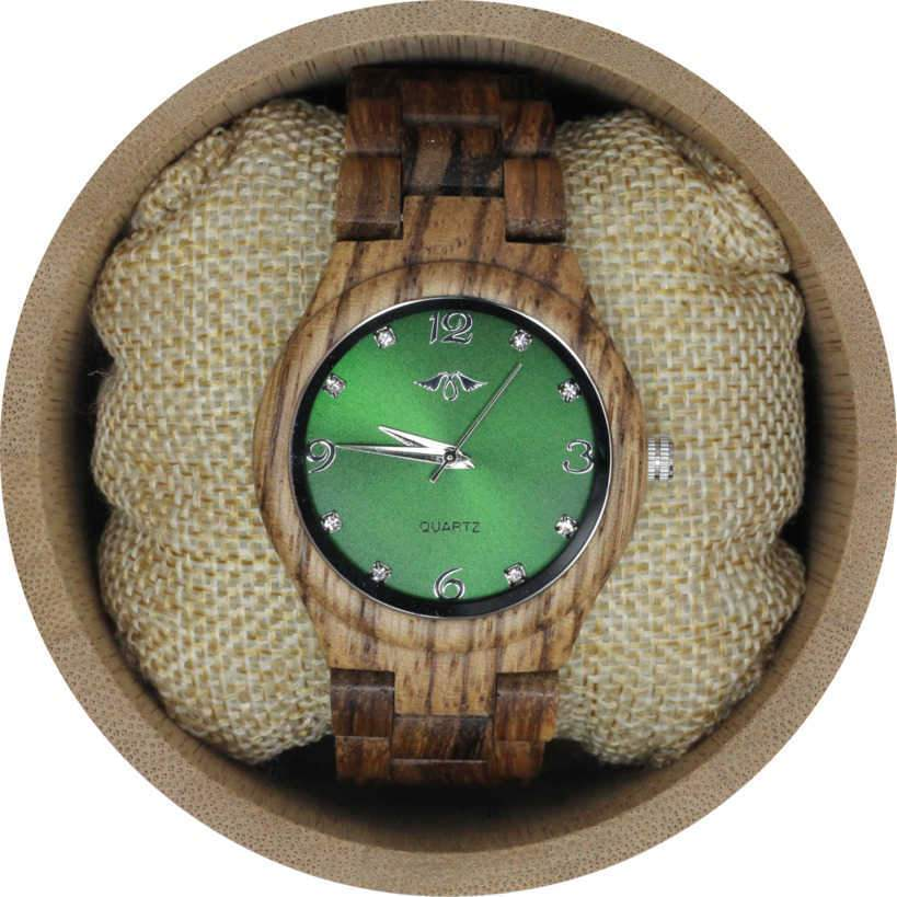 angiewoodcreations Woman Wooden watch Angie Wood Creations Zebrawood Women's Watch With Green Dial
