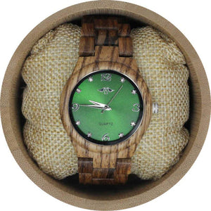 angiewoodcreations Woman Wooden watch Not engraved Angie Wood Creations Zebrawood Women's Watch With Green Dial
