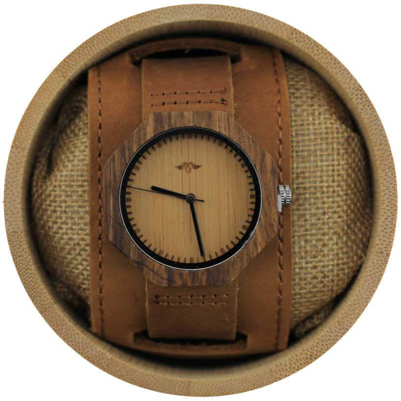 Angie Wood Creations Zebrawood Women's Watch With Leather Cuff Strap