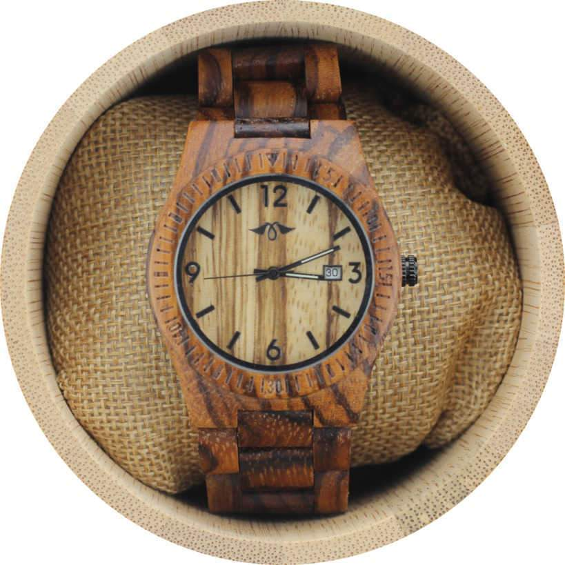 Angie Wood Creations Zebrawood Women's Watch with Zebrawood Bracelet