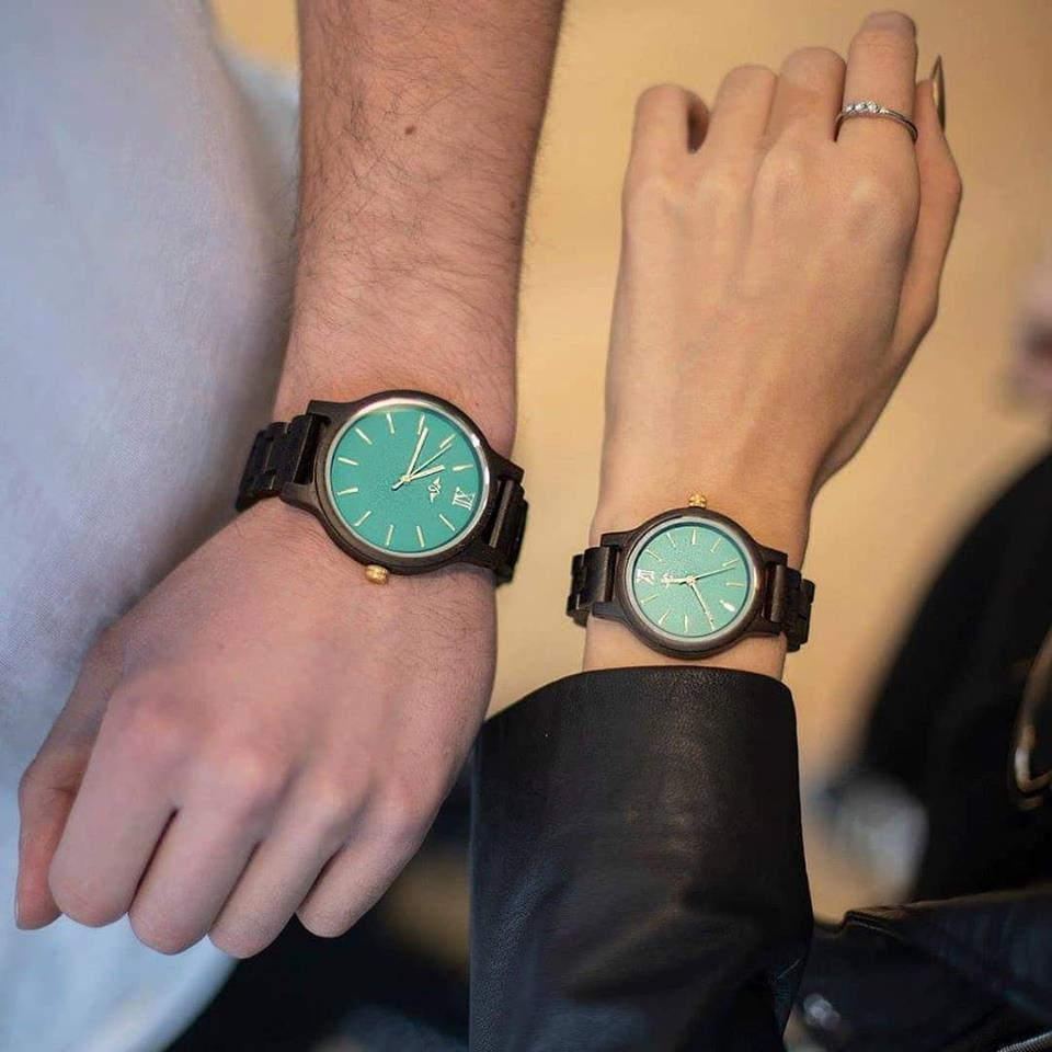 Couple dark sandal wood watch with the green face