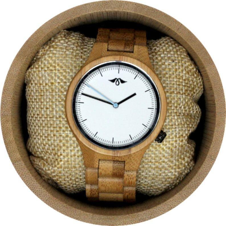 Engraved Bamboo Unisex's Watch with Bamboo Bracelet and White Dial(W103)