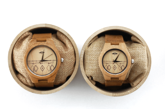 Engraved Bamboo Women's Watch with Bamboo Dial and Aztec Design, Couple Wood Watch(W086)
