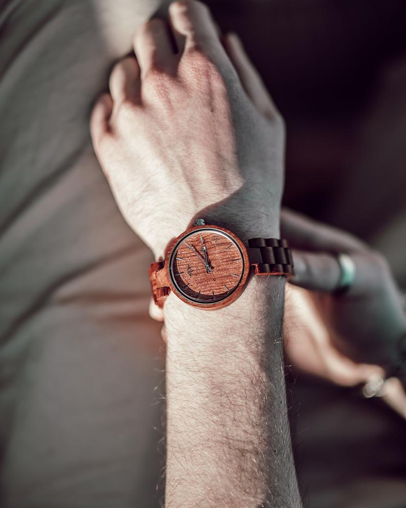 Angiewoodcreations Wood watch Not engraved Engraved Red Sandalwood Unisex's Watch, Wood Watch,Personalized wood watch,Women Watch,Unisex wood watch, Wood watch,Watch,Engraved (W053)
