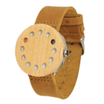 Angiewoodcreations Wood watch Not engraved Maple and steel with leather bracelet - Dotted