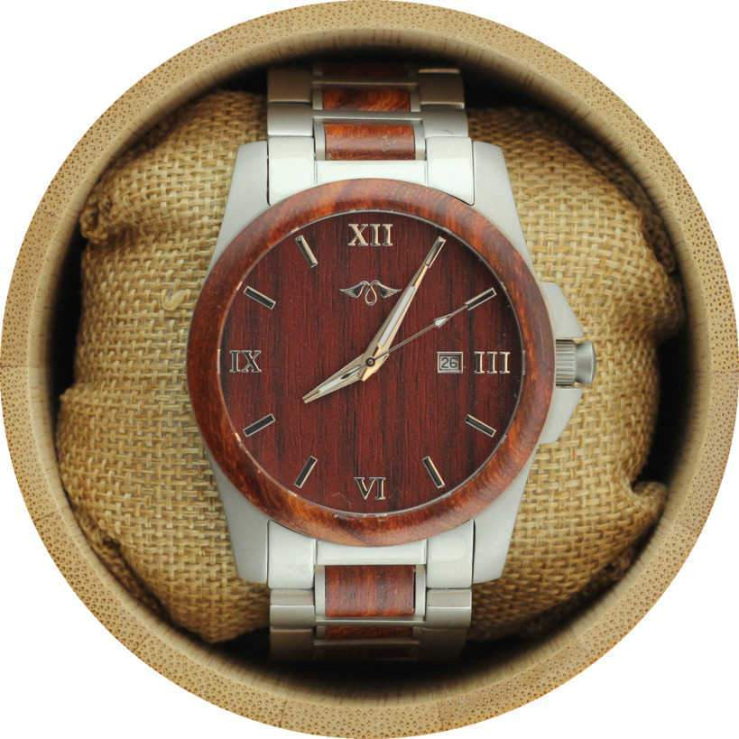 angiewoodcreations Wood watch Not engraved on box Angie Wood Creations Red Sandalwood and Stainless Steel Men's Watch with Matching Bracelet