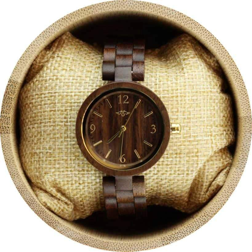 Angie Wood Creations Walnut Women's Watch with Walnut Bracelet and Gold Hands