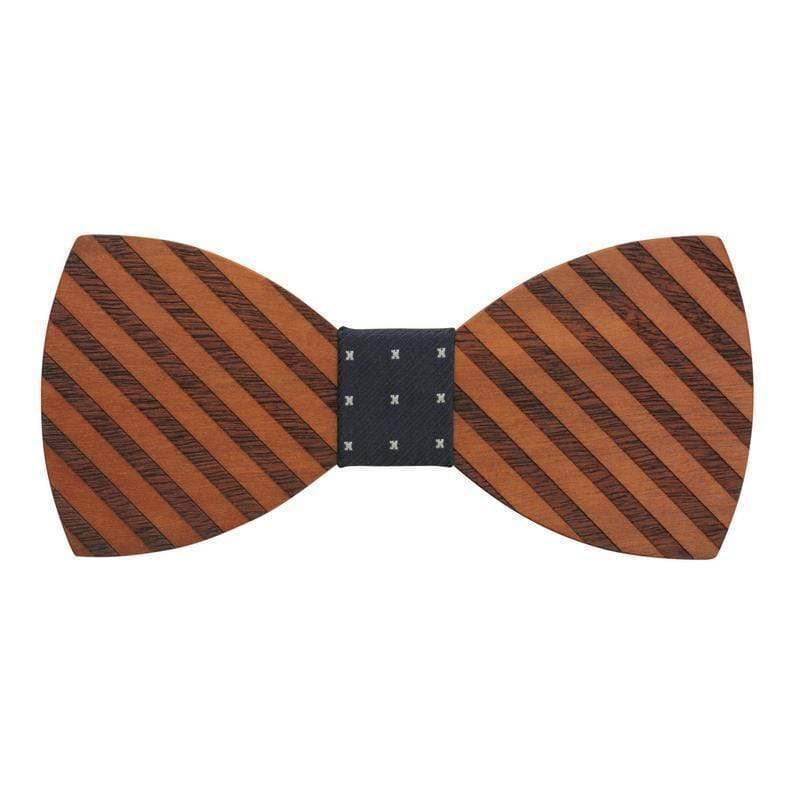100% Natural Eco-friendly Handmade Wooden Bow Tie Stripe Wood with Black Cotton
