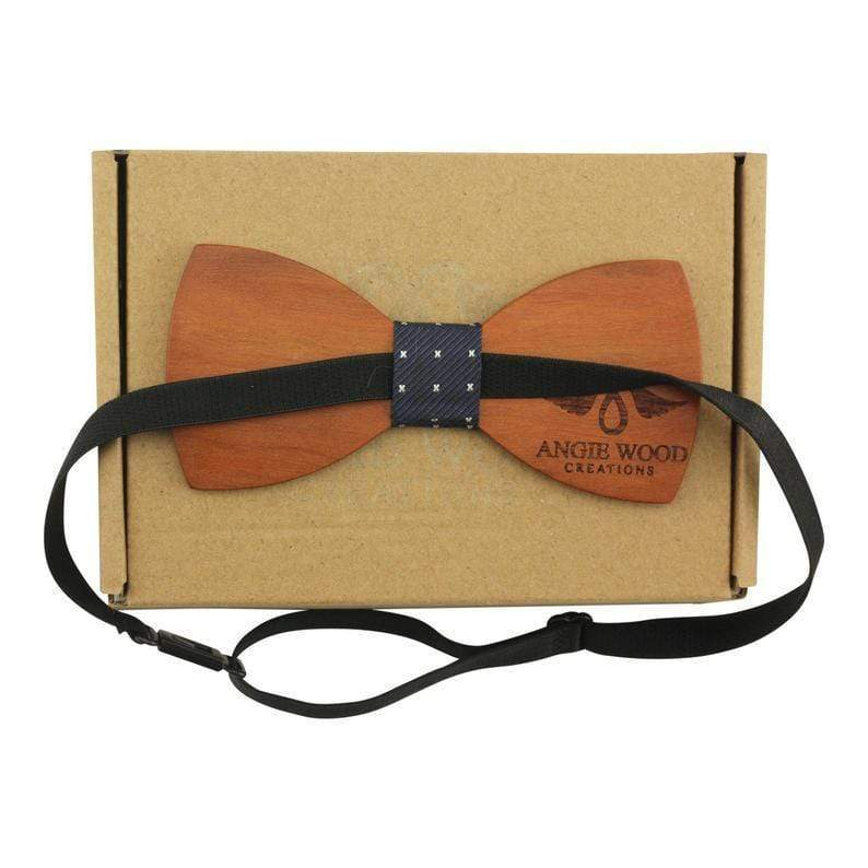 Angiewoodcreations Wooden bow tie Not engraving 100% Natural Eco-friendly handmade Wooden Bow Tie stripe wood with black cotton
