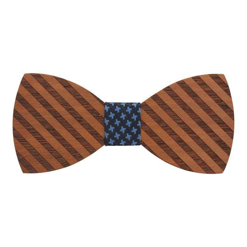 100% Natural Eco-friendly Handmade Wooden Bow Tie Stripe Wood with Blue Cotton