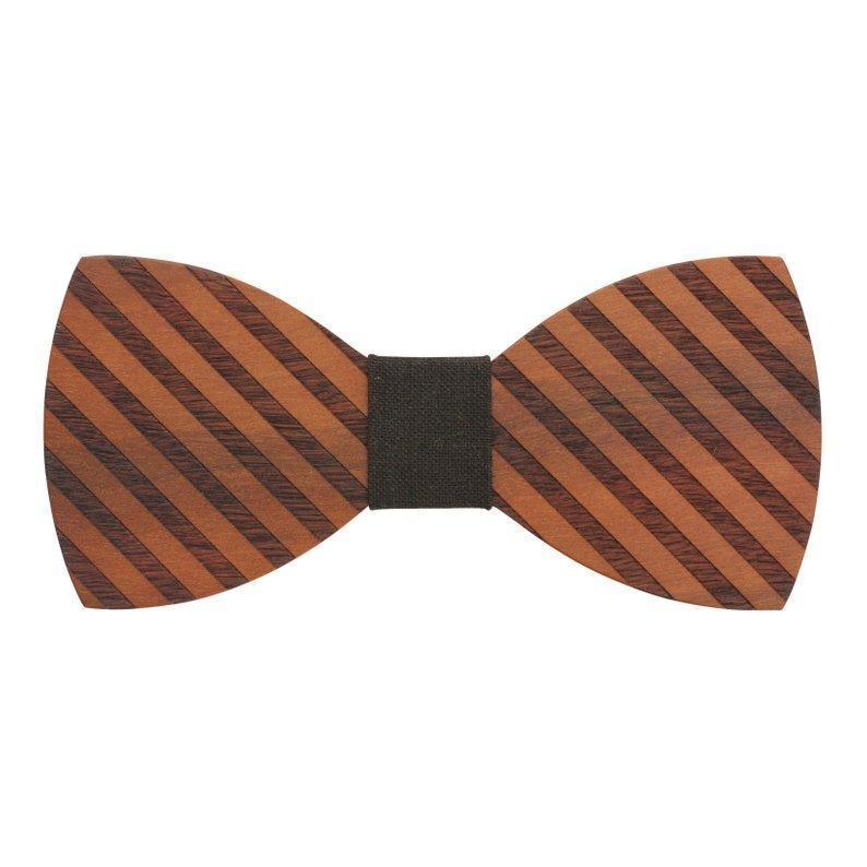 100% Natural Eco-friendly Handmade Wooden Bow Tie Stripe Wood with Brown Cotton